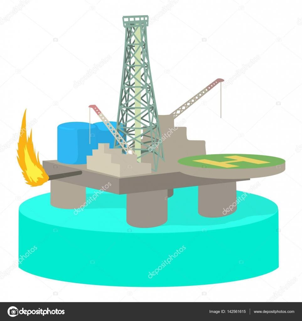 Icona della piattaforma di olio stile del fumetto for Piani di costruzione della piattaforma gratuiti
