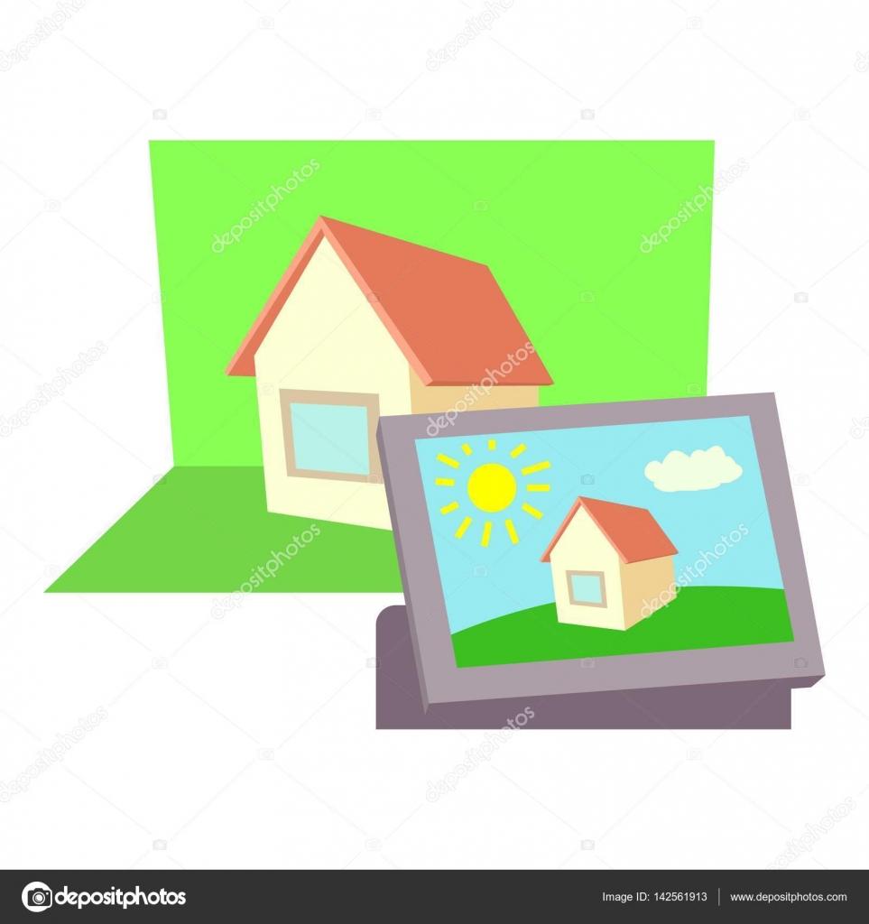Icono del cine marco, estilo de dibujos animados — Vector de stock ...