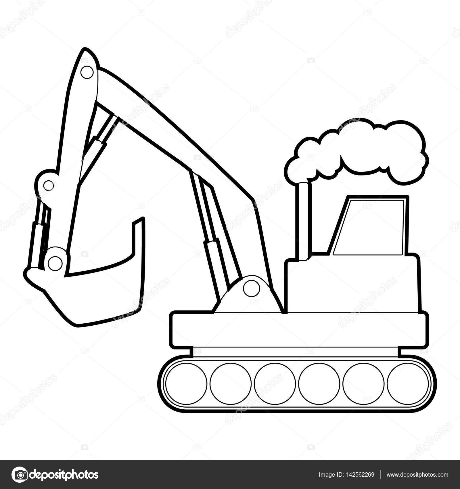 Excavator Icon Outline Style Stock Vector