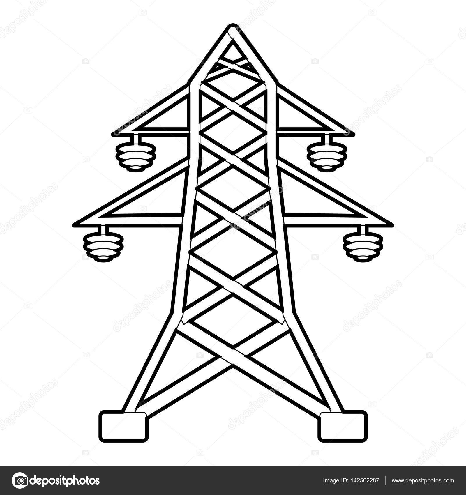 icono del poste el u00e9ctrico  esquema estilo  u2014 archivo