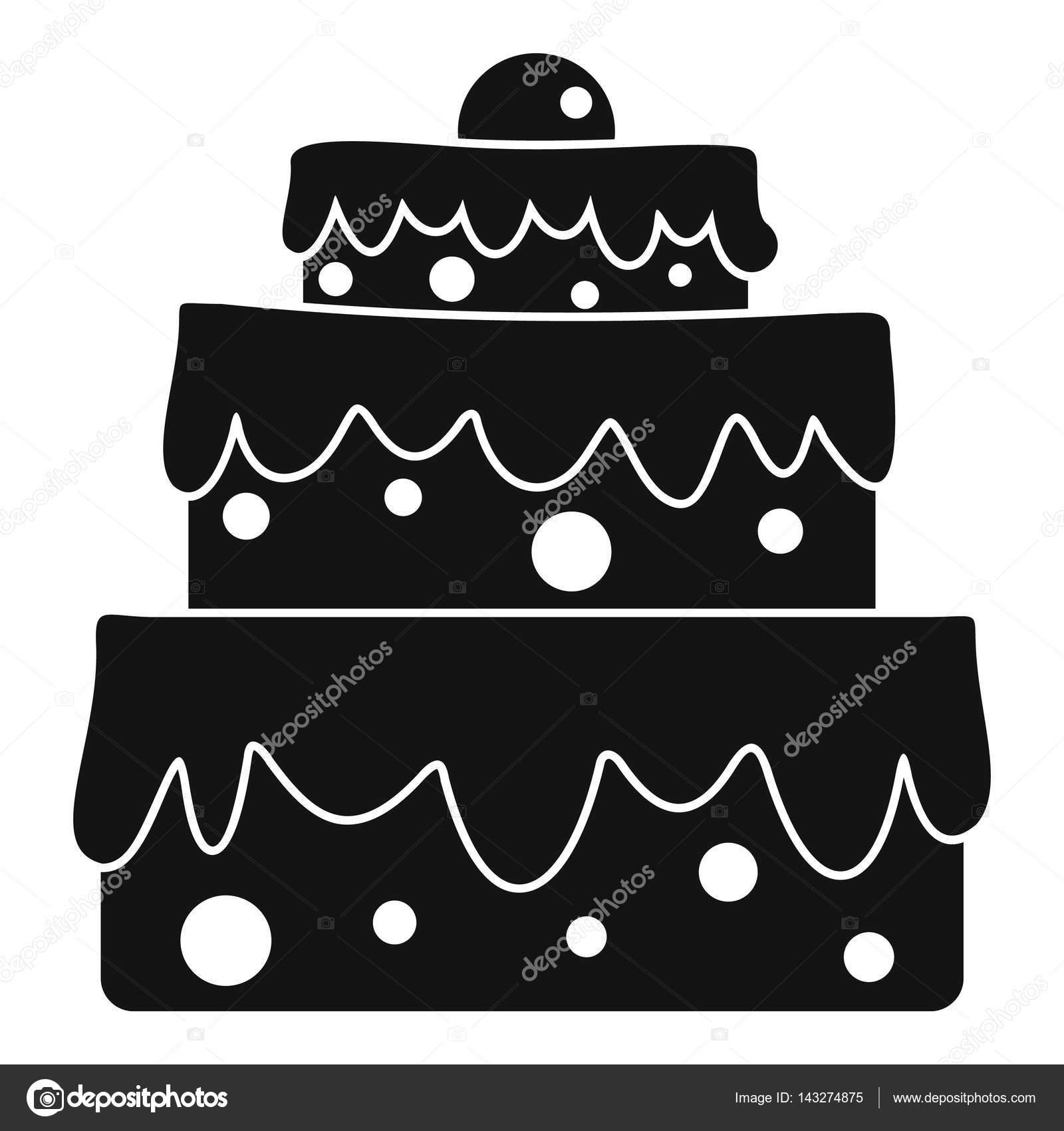 taart pictogram Grote taart pictogram, eenvoudige stijl — Stockvector © ylivdesign  taart pictogram
