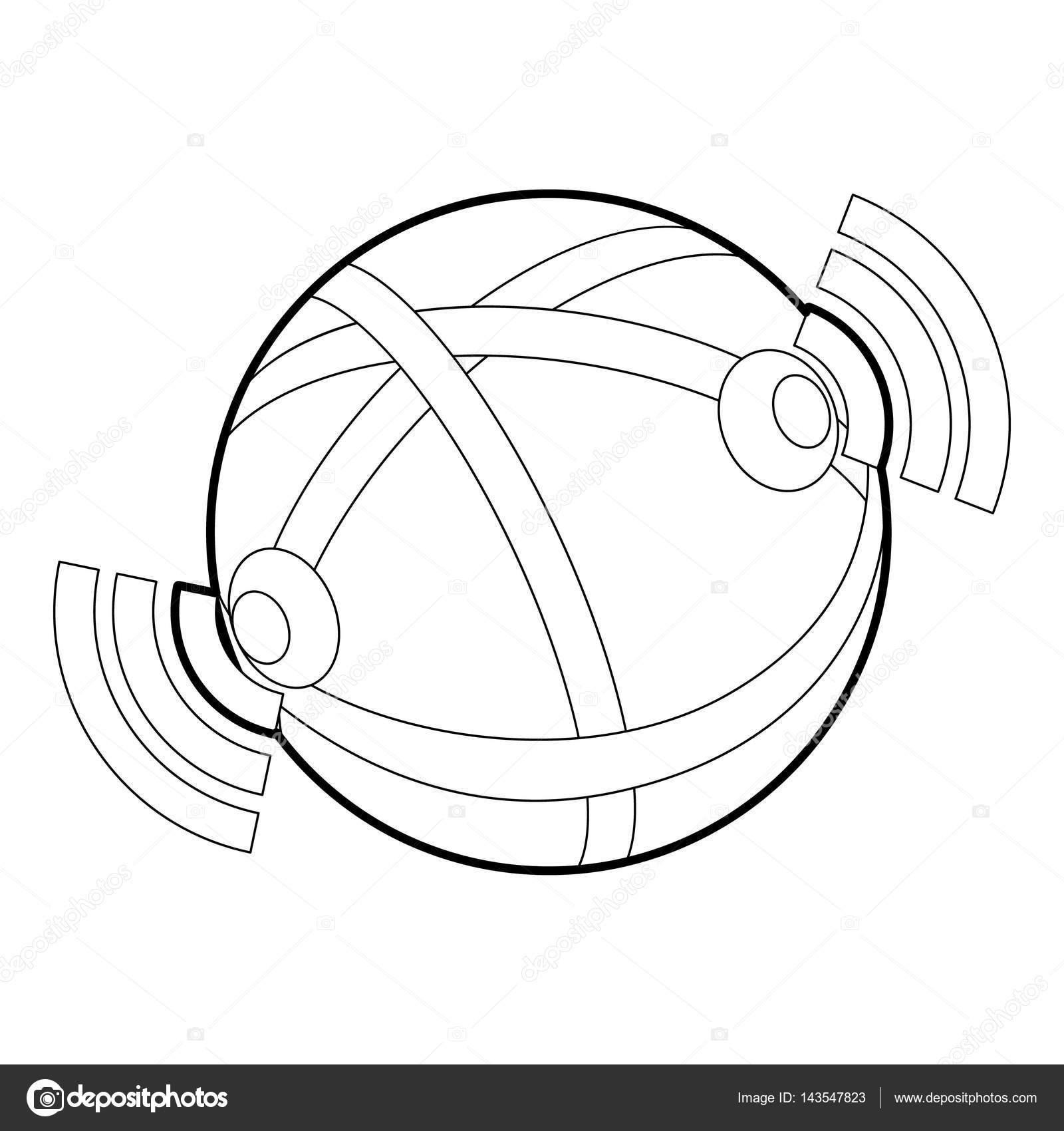 Globe database icon, outline style — Векторное изображение