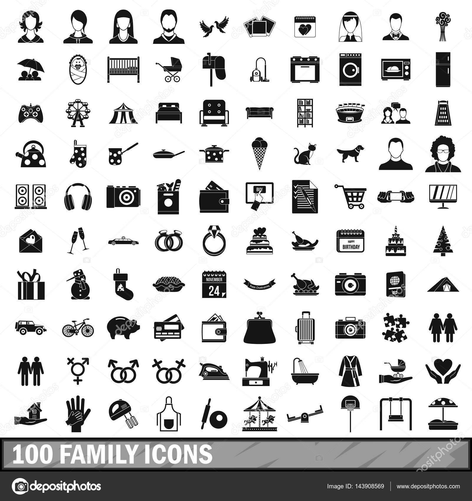 100 Familien Symbole im einfachen Stil festlegen — Stockvektor ...