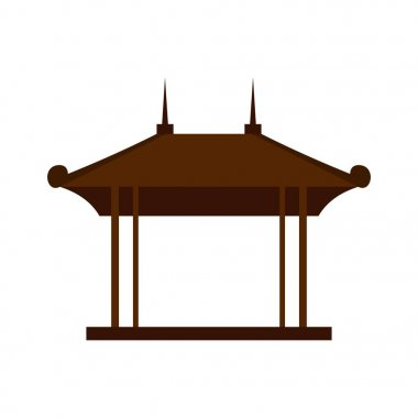 Wooden pavilion icon, flat style