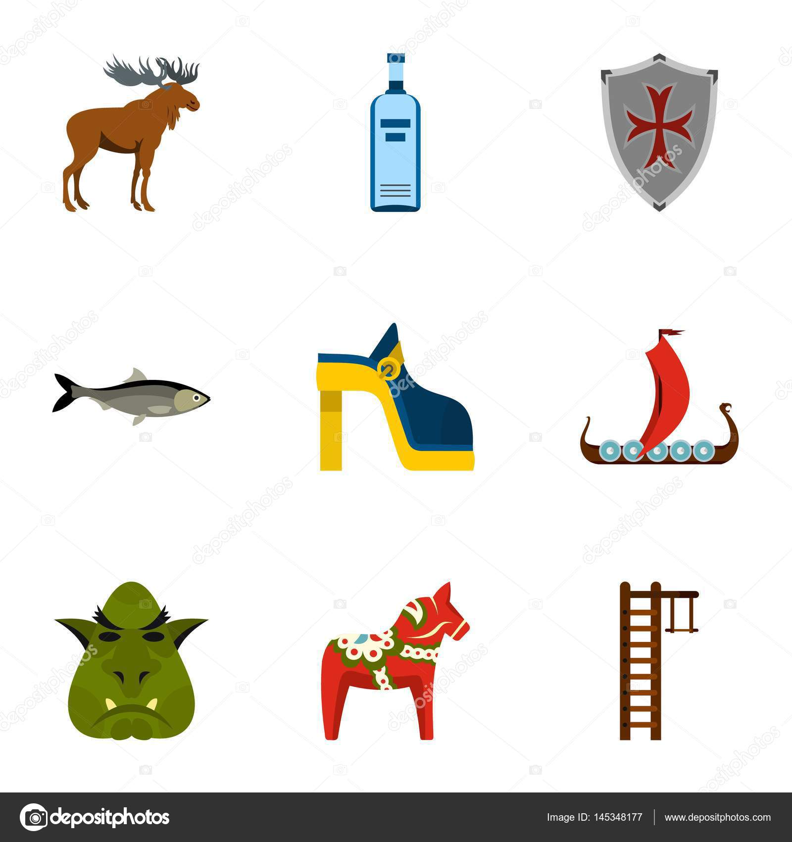 Welcome To Sweden Icons Set Flat Style Stock Vector Ylivdesign