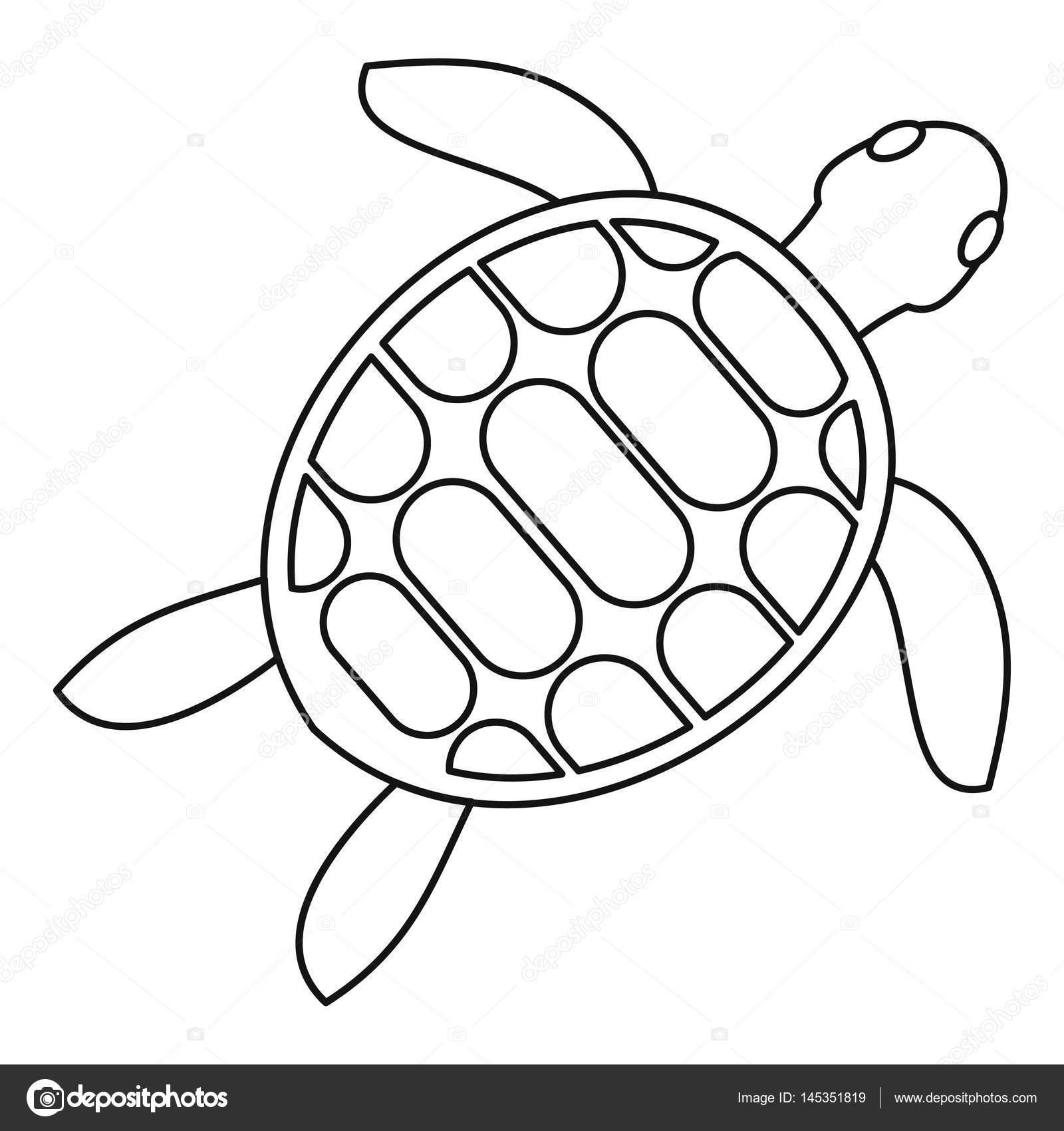 Kaplumbağa Simgesi Anahat Stili Stok Vektör Ylivdesign 145351819