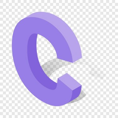 C letter in isometric 3d style with shadow