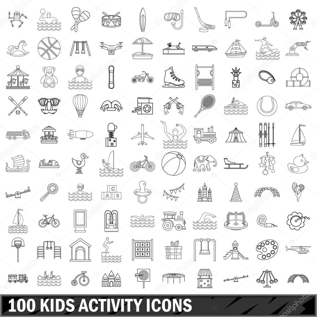 100 kids activity icons set, outline style