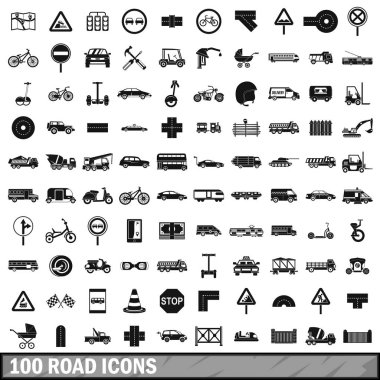 100 road icons set, simple style