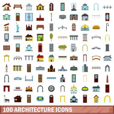 100 architecture icons set, flat style