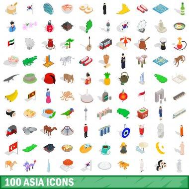 100 asia icons set, isometric 3d style