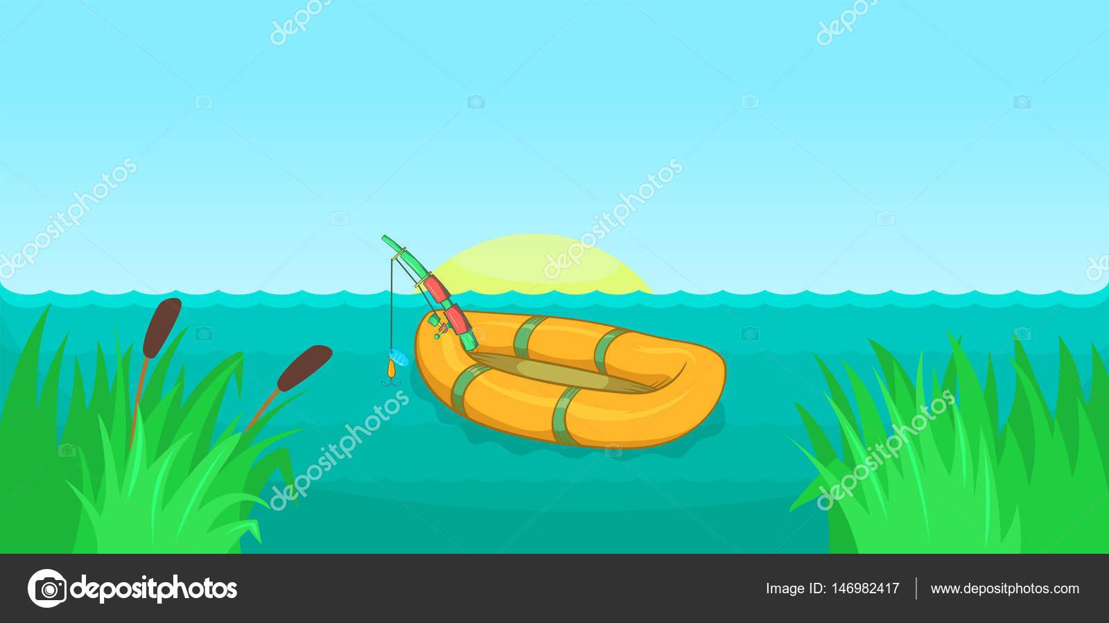 Banner Horizontal De La Pesca De Lago, Estilo De Dibujos