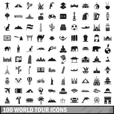 100 world tour icons set, simple style