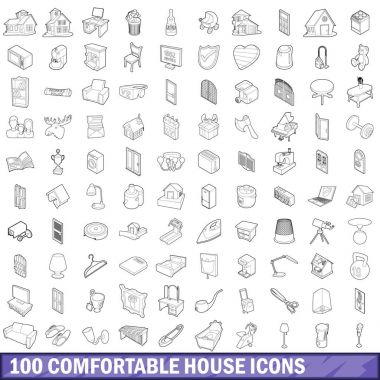 100 comfortable house icons set, outline style