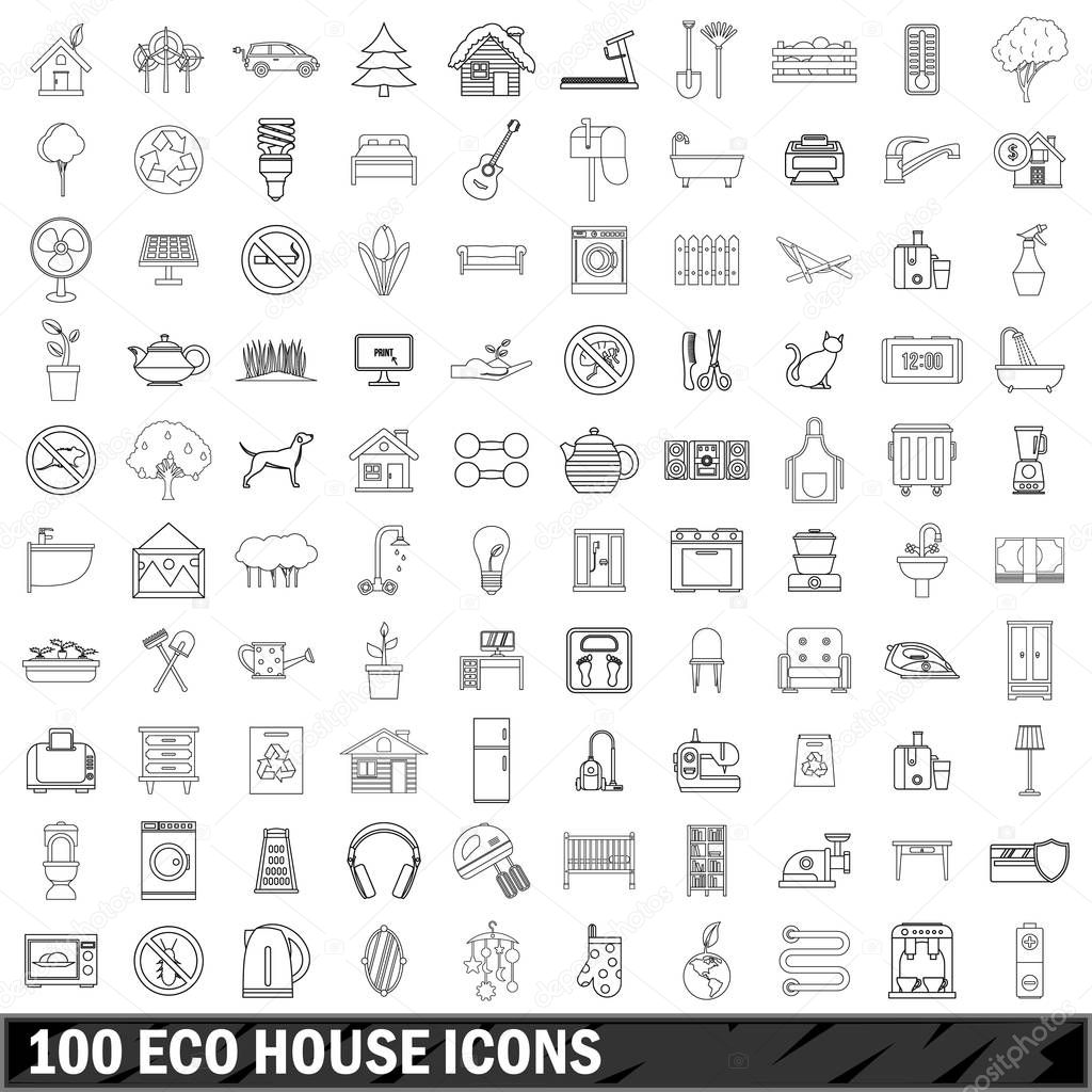 100 eco house icons set, outline style