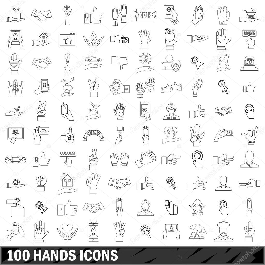 100 hands icons set, outline style