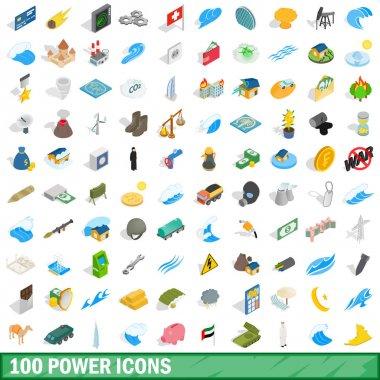 100 power icons set, isometric 3d style