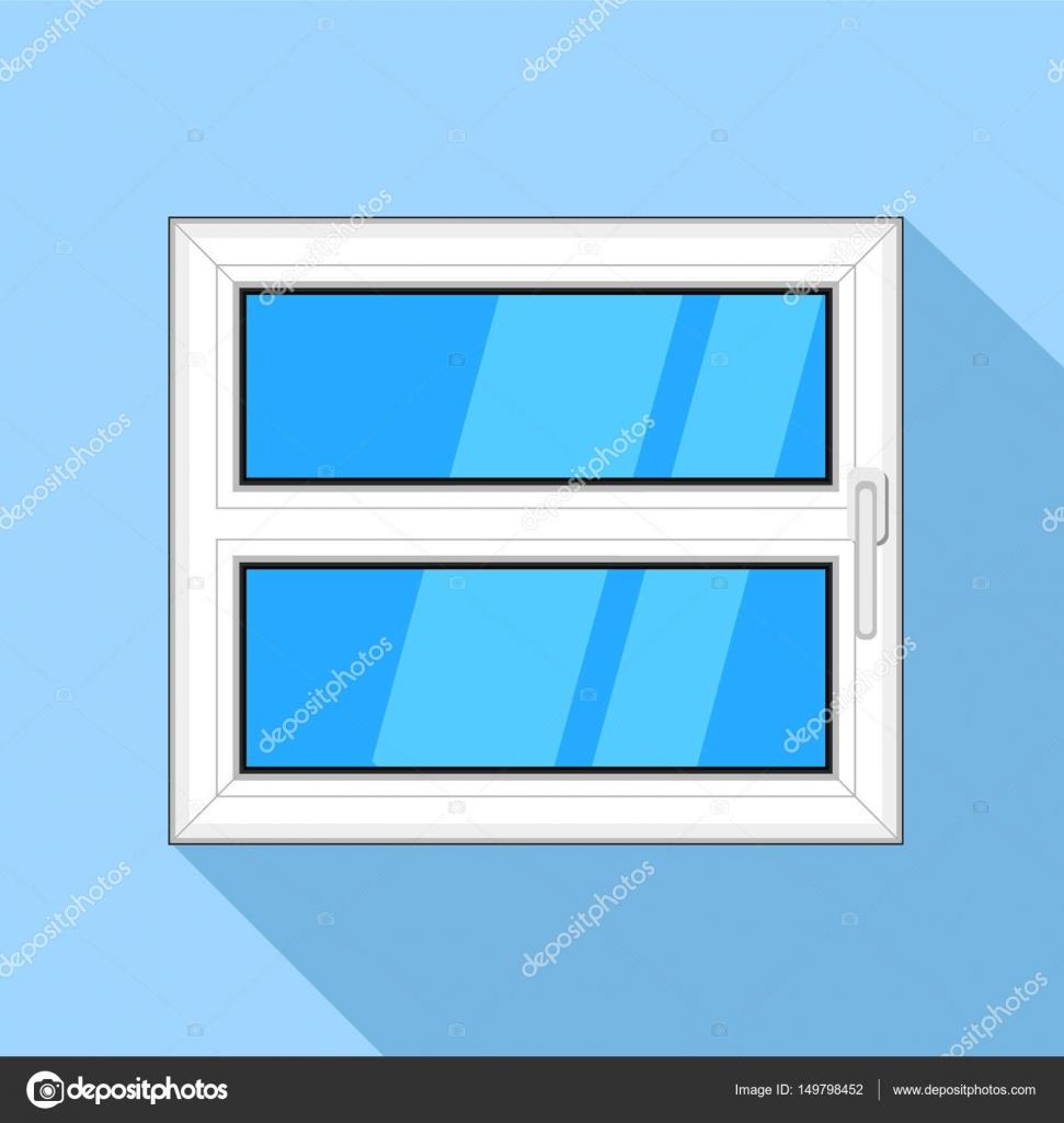 Kunststoff-Fenster mit blauem Himmel Glas und Griff-Symbol ...