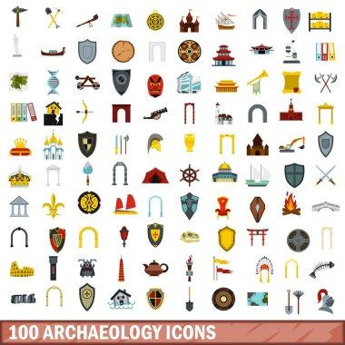 100 archaeology icons set, flat style