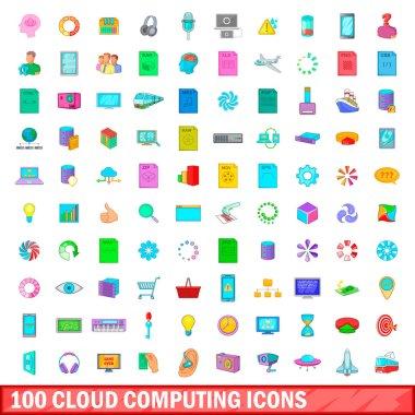 100 cloud computing icons set, cartoon style