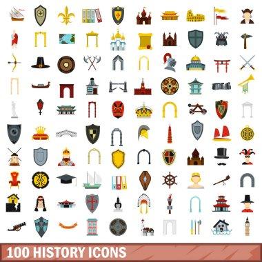 100 history icons set, flat style