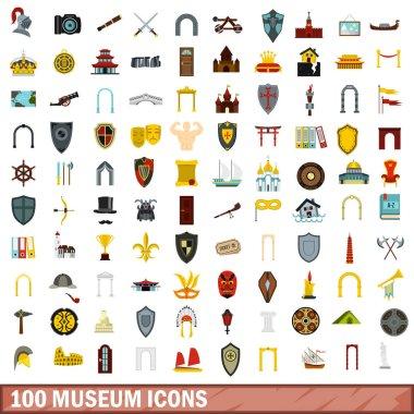100 museum icons set, flat style