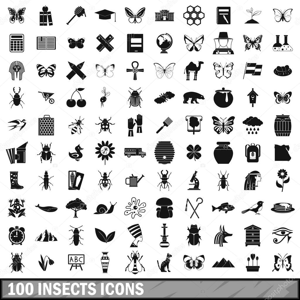 100 insects icons set, simple style