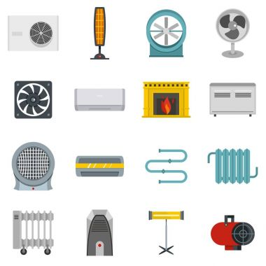 Heating cooling air icons set in flat style isolated vector illustration clip art vector