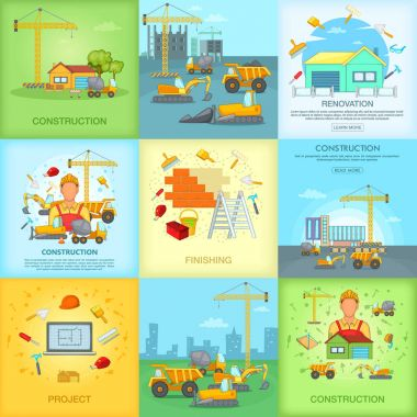Construction banner set, cartoon style