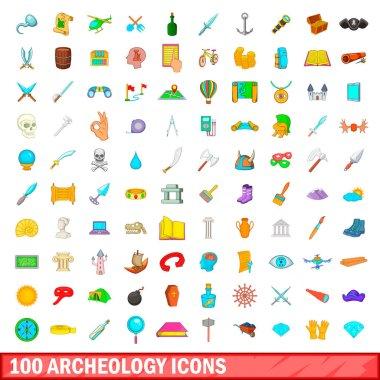 100 archeology icons set, cartoon style