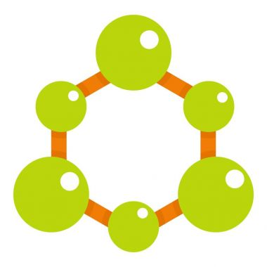 Green molecule structure icon isolated