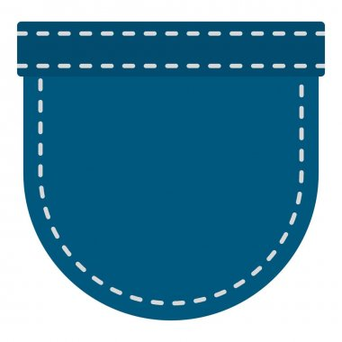 Blue jeans pocket icon isolated