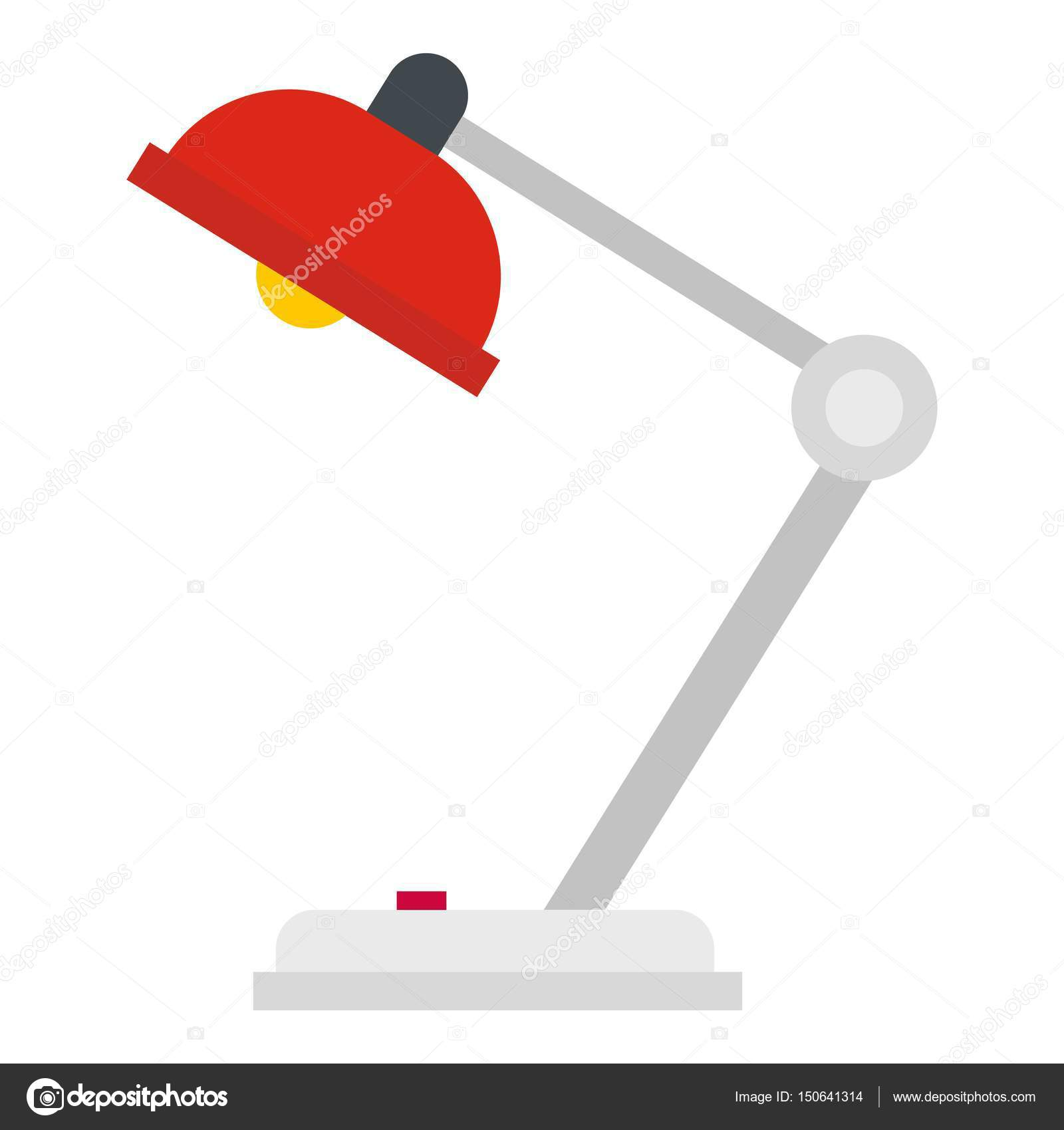 Red Desk Lamp Icon Isolated Stock Vector