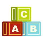 Barevná abeceda kostky ikona, samostatný