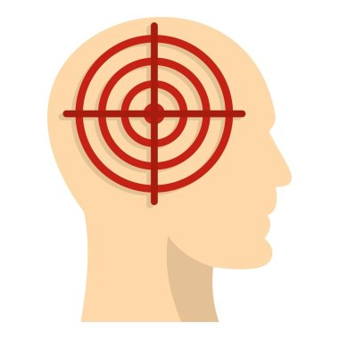 Human head with red crosshair icon isolated