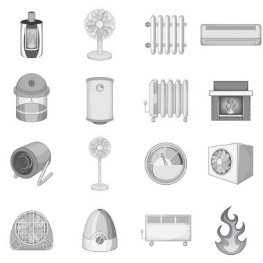Heating cooling icons set in monochrome style isolated vector illustration clip art vector