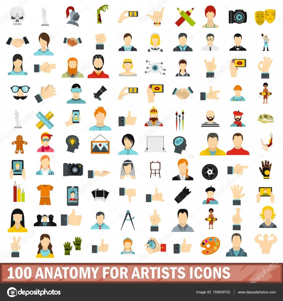 100 Anatomie für Künstler Icons Set, flachen Stil — Stockvektor ...