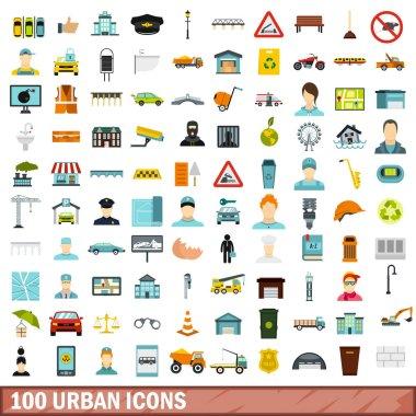 100 urban icons set, flat style
