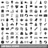 Fotografie 100 ball icons set, simple style