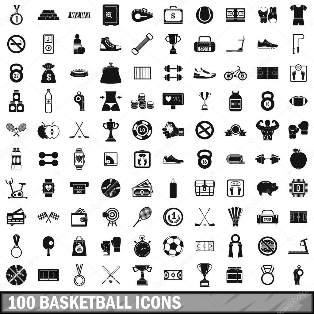 100 basketball icons set, simple style