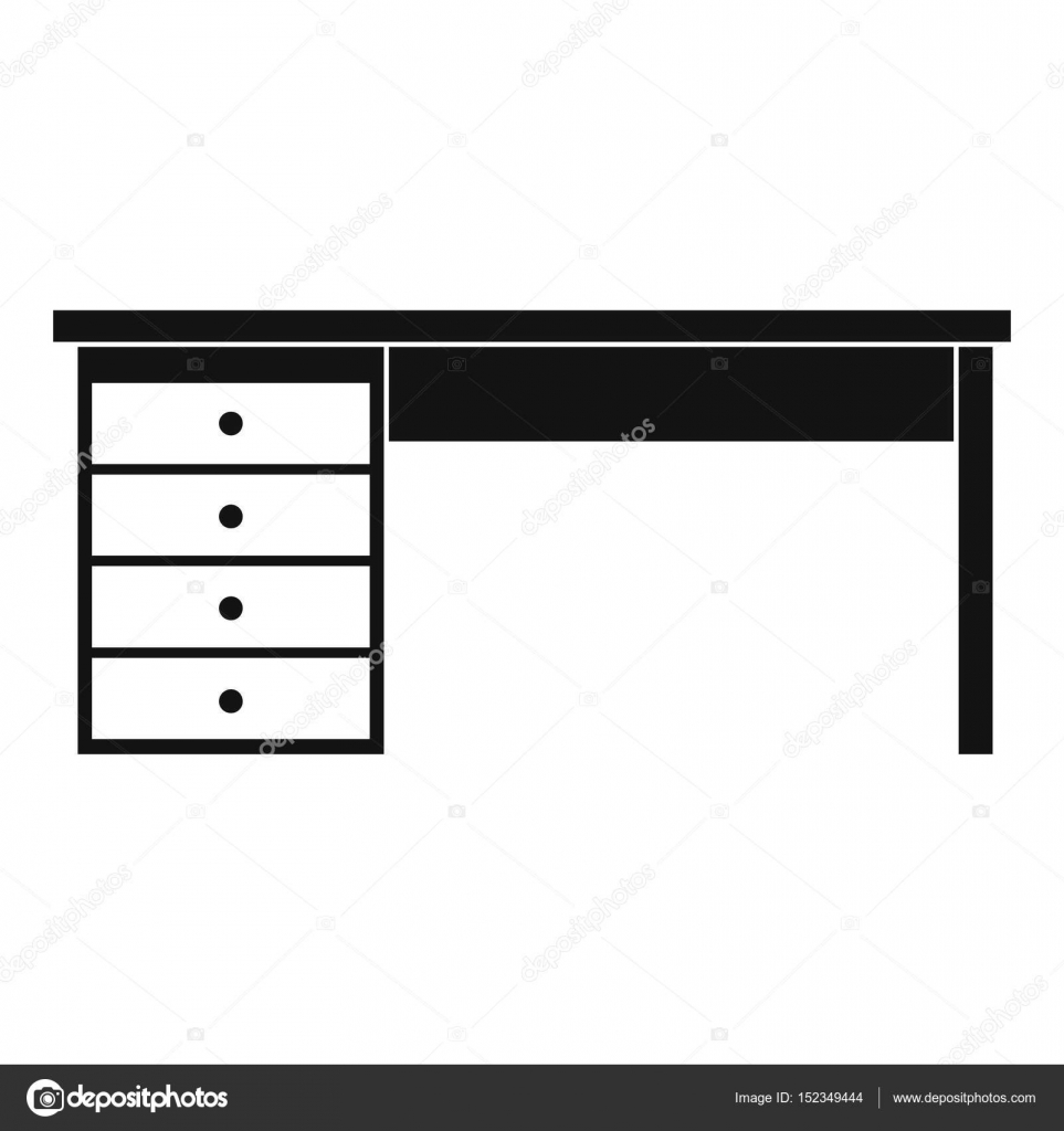 wooden office desk simple. Wooden Office Desk Icon Simple \u2014 Stock Vector