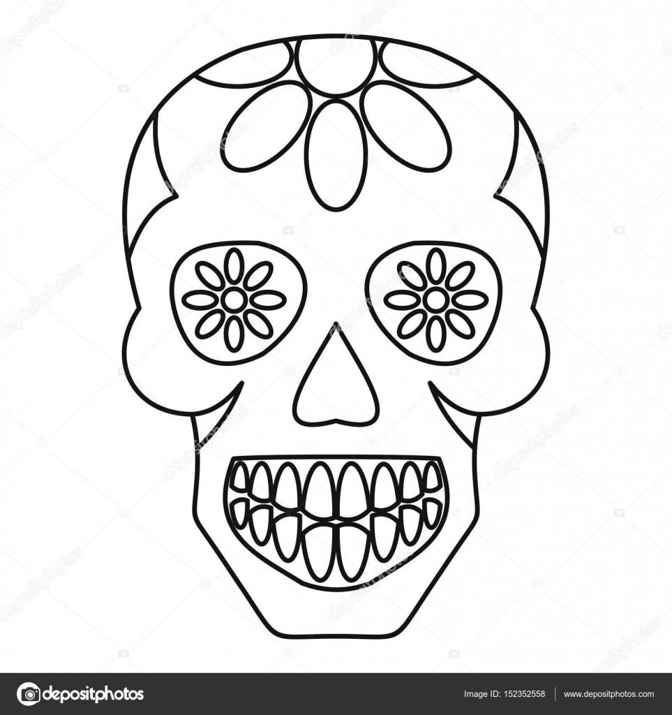 Calavera de azúcar, flores en el contorno del icono de calavera ...