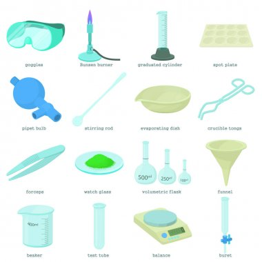 Chemical laboratory tools icons set, cartoon style