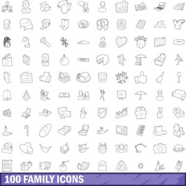 100 family icons set, outline style