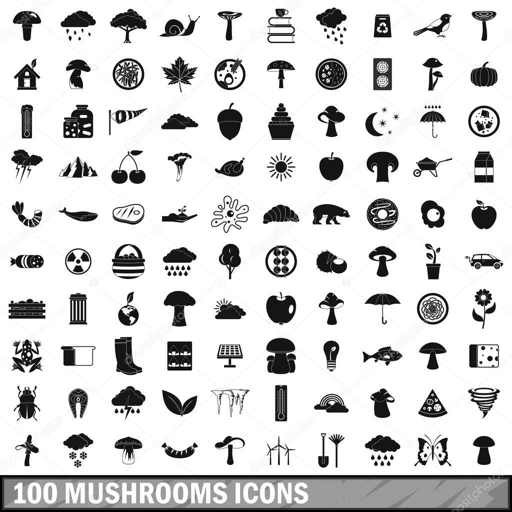 100 mushrooms icons set, simple style