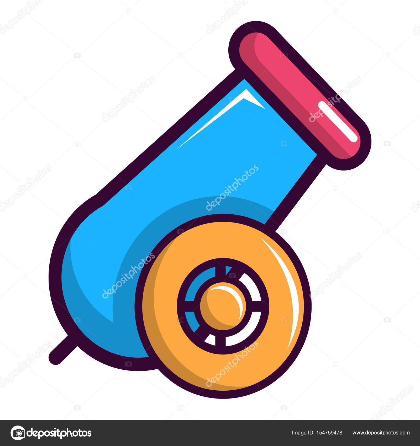 colorful circus cannon icon, cartoon style — stock vector