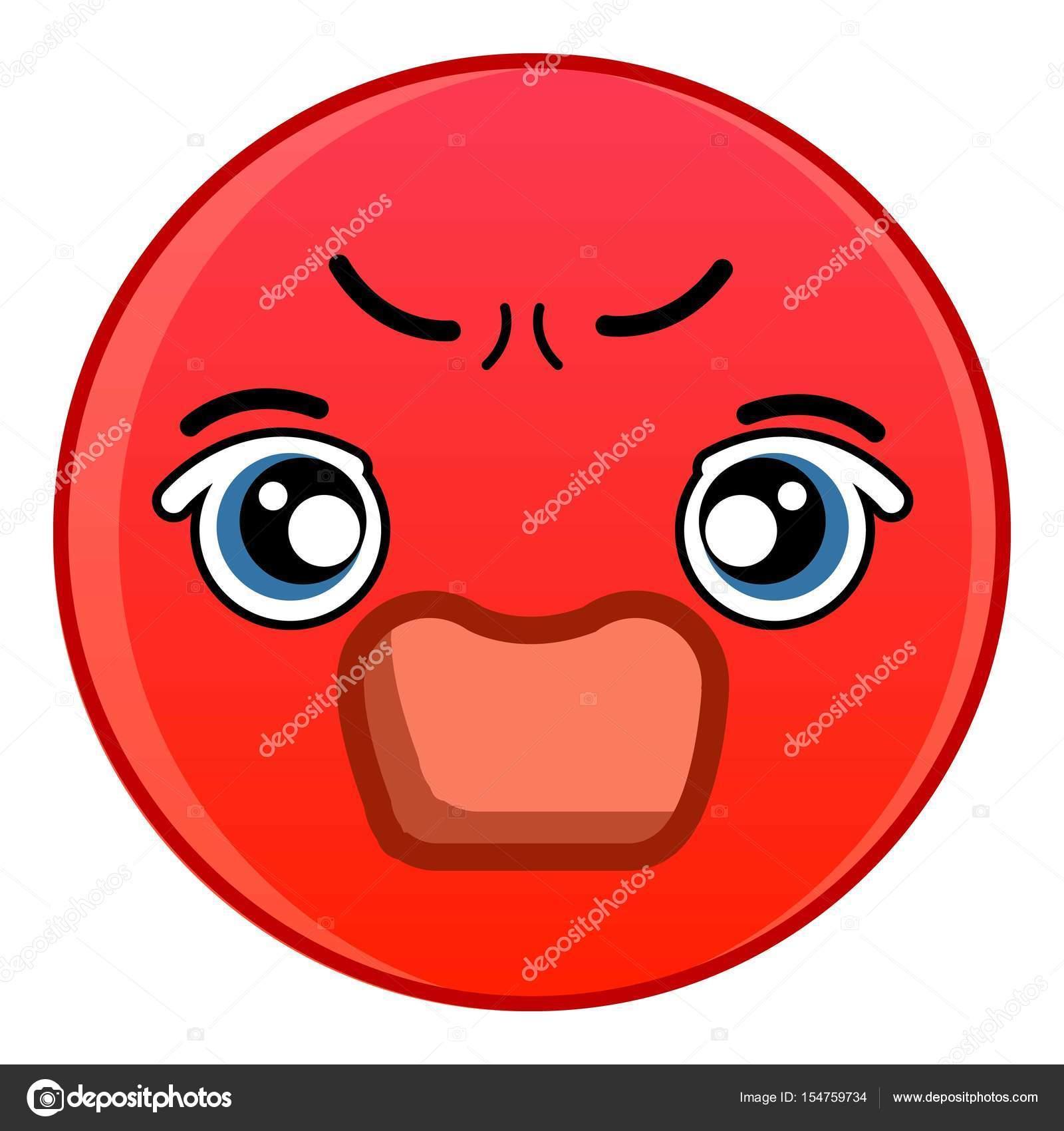 Böse rote Smiley-Symbol, Cartoon-Stil — Stockvektor