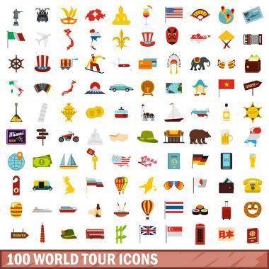 100 world tour icons set, flat style