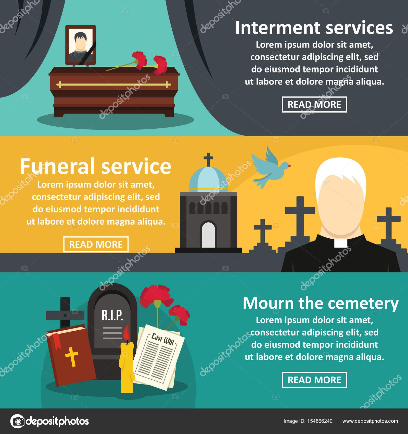 Funeraria servicio banner horizontal sistema, plano estilo — Archivo ...