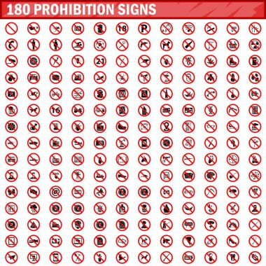180 prohibition signs set vector